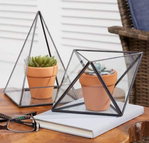 Better Home & Gardens: 2-Piece Geo Terrarium Set  $18, Prairie Grove Large Outdoor Wood Lantern $20 & More + Free S/H on $35+
