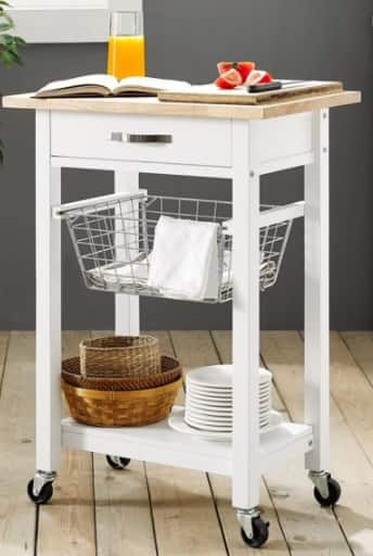 Mainstays Multi-Function Cart w/ Caster Wheels (white) $59 + Free Shipping