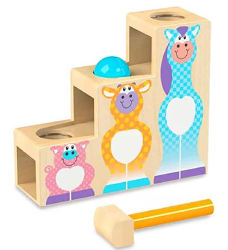 Melissa & Doug Toys: 3-Pc. First Play Pound & Roll Stairs Wooden Hammer & Ball Toy $10.30, Construction Worker Hand Puppet $14.80 + Free S/H w/ Prime or free on $25+