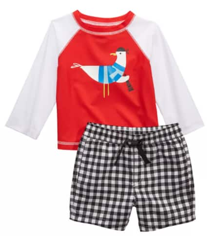 2-Pc. Rash Guard & Swim Trunks Set: First Impressions Baby Boys' Set $6.36, Laguna Toddler & Little Boys' Set (various) $11.93 + Free Ship to Store at Macy's or Free S/H on $25+