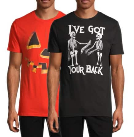 2-Pk Men's Halloween Graphic T-Shirts (various) $11.96 (5.98 Ea.), 2-Pk Women's Time & Tru Halloween Leggings (various) $10.98 ($5.48 Ea.) & More + Free S/H on $35+