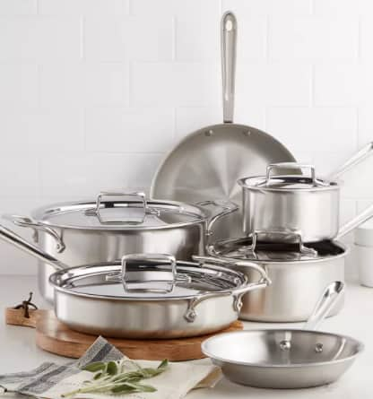 10-Pc All-Clad D5 Brushed Stainless Steel Cookware Set $555 after 12% Slickdeals Cashback (PC Required) + Free Shipping
