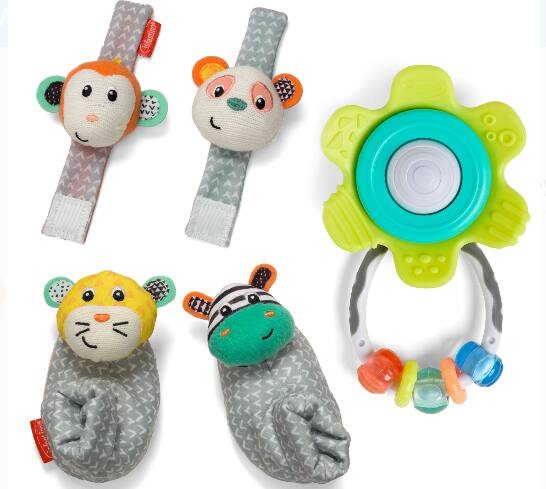 Infantino Rattle & Teether Toy Set w/ Spin & Teethe Gummy Rattle, Wrist Rattles & Foot Rattles (yellow or pink) $10 + Free Shipping on $35+