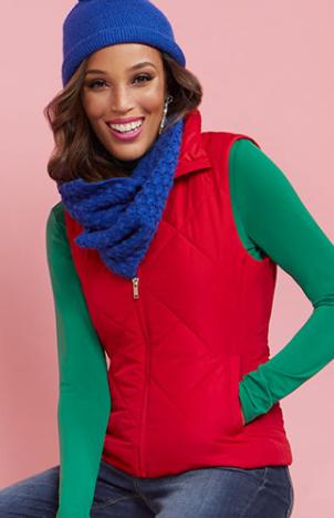 New York & Co.: Women's Puffer Vest (various) $10, Women's Seamed Puffer Jacket (various) $20, Women's Essential Cotton Tee (various) $5 & More + Free Shipping