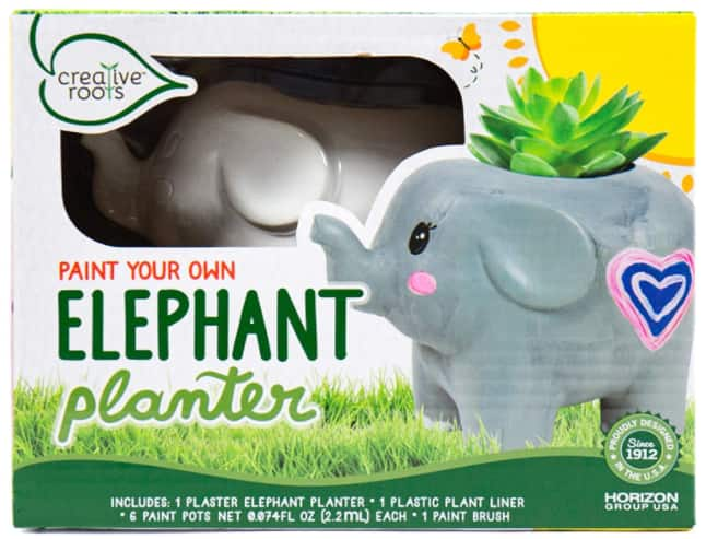 Creative Roots Paint Your Own Elephant Planter by Horizon Group w/ Accessories $5 + Free S/H w/ Prime or FS on $25+