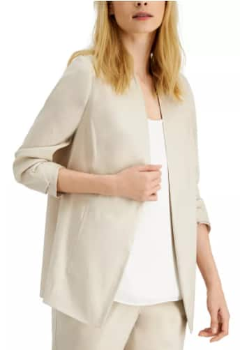 Alfani Women's Ruched-Sleeve Open-Front Blazer (beige) $14.96, Style & Co Women's Top (various) $7 & More + Free Store Pickup at Macy's or FS on $25+