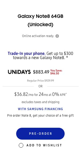 20% off Galaxy Note 8 with Student email