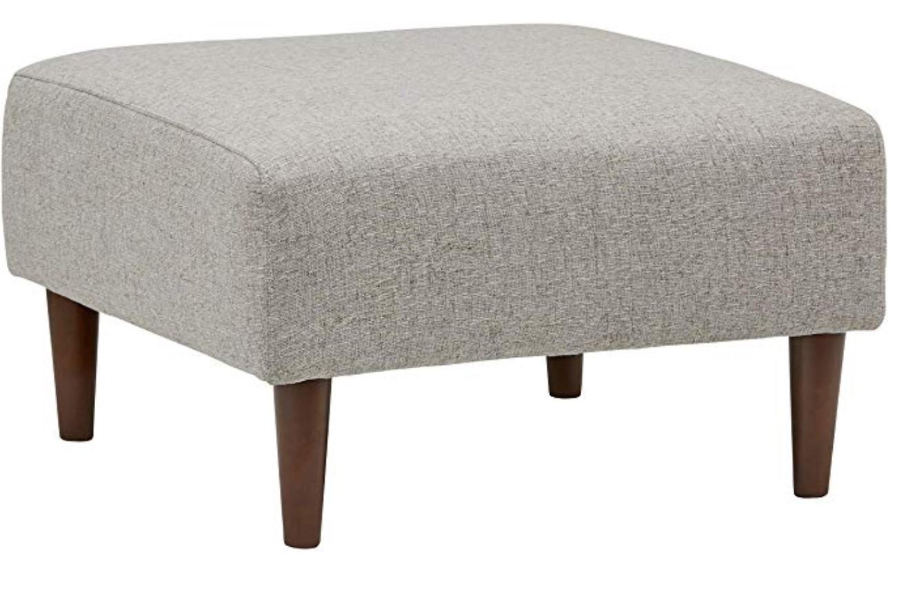 "Amazon: Rivet Ava Mid-Century Modern Upholstered Ottoman, 25.6""W, Light Grey - 20% OFF"