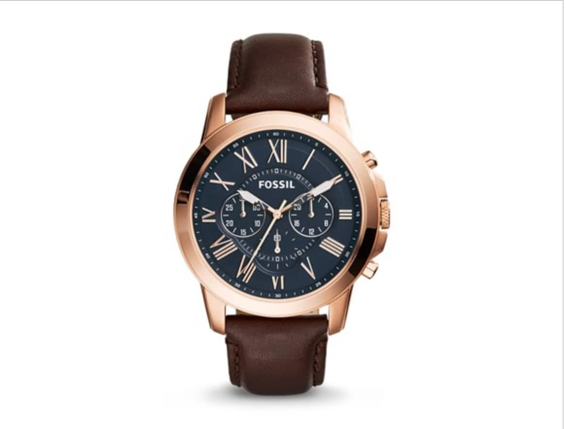 Fossil Men's Grant Chronograph Watch w/ Brown Leather Strap $40 + Free S/H w/ Prime