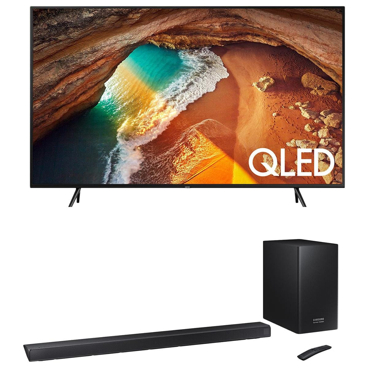 "75"" Samsung Q60 and Q60r wireless Soundbar and sub $1480"