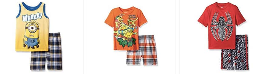 Select Little Boys' 2pc Top and Short Sets: Despicable Me, Spiderman from $5 & More