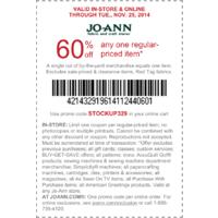 Joann Deal: Joann 60% off any one regular price item.
