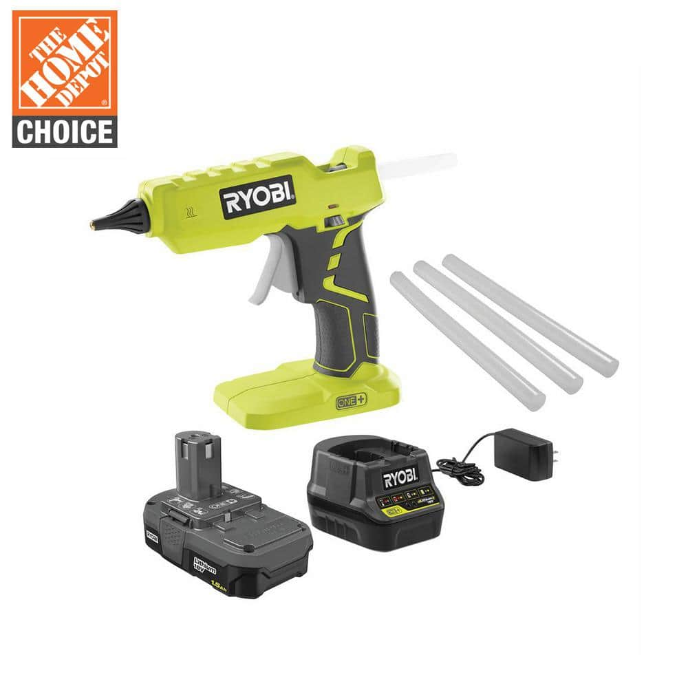 RYOBI 18V ONE+ Lithium-Ion Cordless Glue Gun Kit with (3) General Purpose Glue Sticks, (1) 1.5 Ah Battery and Charger-P305KN - The Home Depot - $49.97
