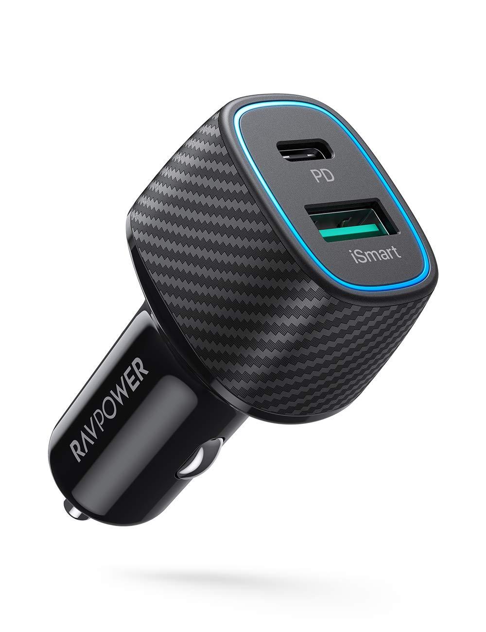 RAVPower 2-Port 30W USB-C PD & 18W USB-A QC 3.0 Car Charger $13