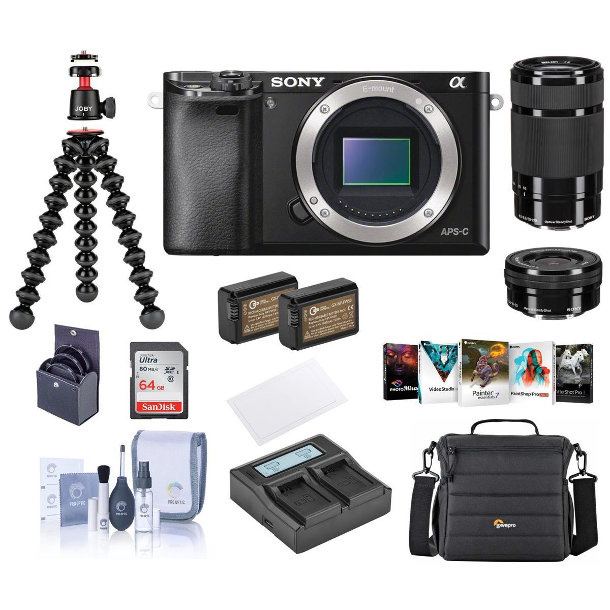 Sony Alpha A6000 Mirrorless Camera (Black) Bundle: 16-50mm & 55-210mm OSS Lenses, Joby Pod 3K, 64GB SDXC Card, 2 Batteries, Camera Bag & More - $598.00 + FS