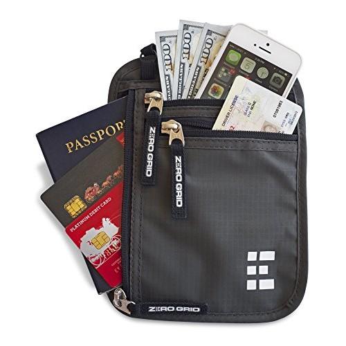 Zero Grid Neck Wallet w/RFID Blocking- Concealed Travel Pouch & Passport Holder - $9.85 after code + Prime FS