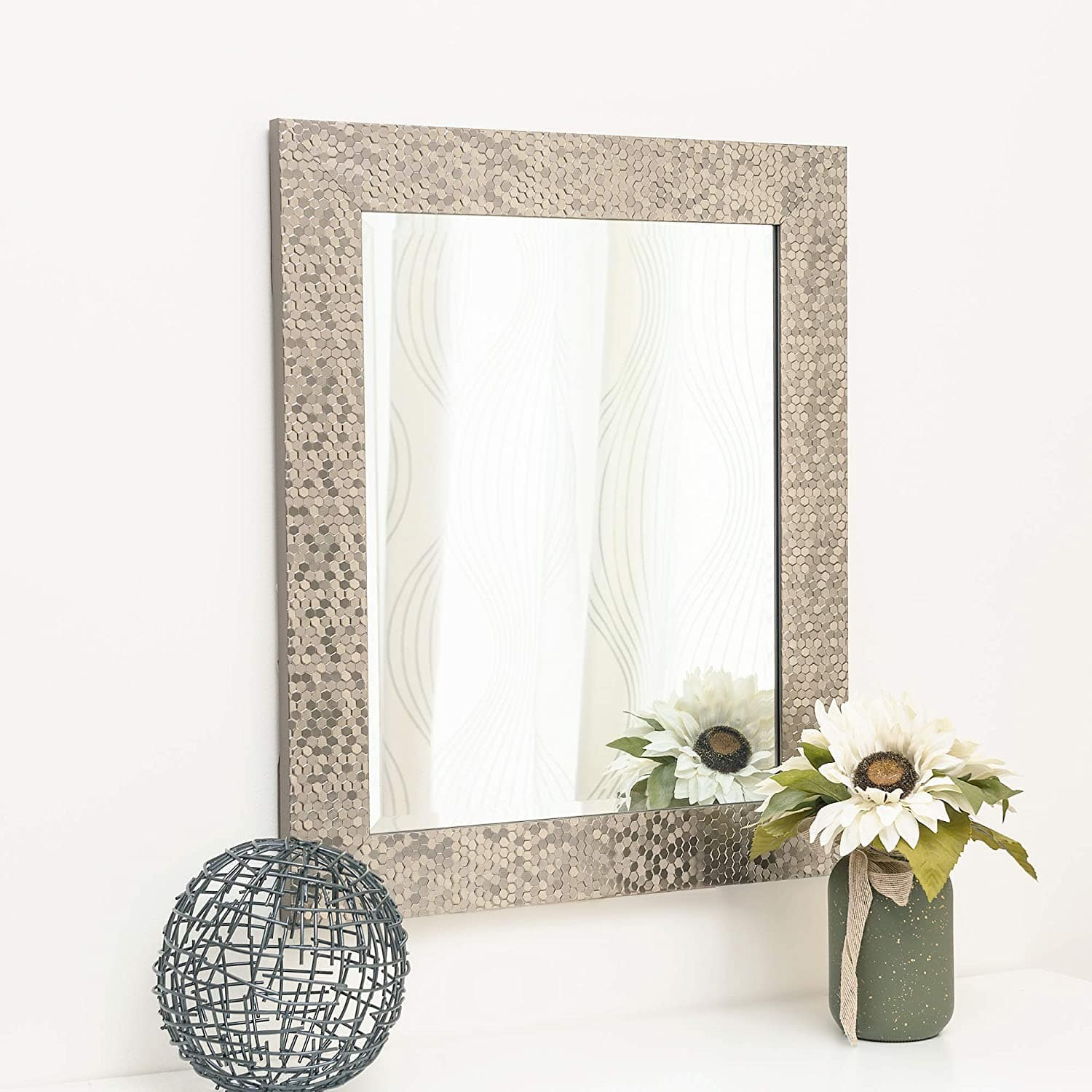Wall Beveled Mirror Framed Rectangular Frame Hangs Horizontal & Vertical (27x33 and other sizes) - $40 AC + FS