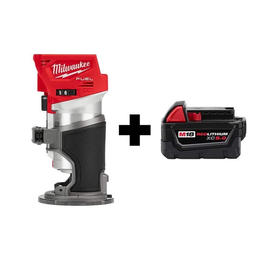 Milwaukee M18 FUEL 18-Volt Lithium-Ion Brushless Cordless Compact Router with Free M18 5.0 Ah Battery-2723-20-48-11-1850 - $179.00 at Home Depot