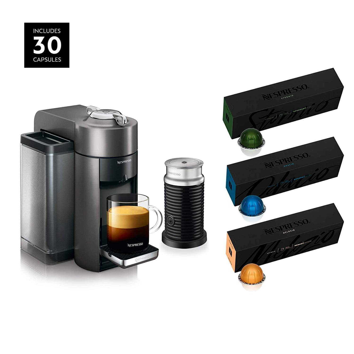 Nespresso Vertuo Coffee and Espresso Machine Bundle by De'Longhi with Aeroccino Milk Frother and BEST SELLING COFFEES INCLUDED $114.99
