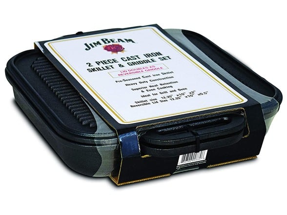 Jim Beam 3-in-1 Cast Iron Skillet with Double Sided Griddle - $25