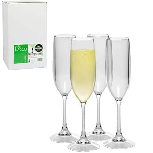 River Colony Trading via Amazon: Set of 4 Shatterproof Champagne Glasses for $9.99 with Code + Free Shipping with Prime or on Orders $25+