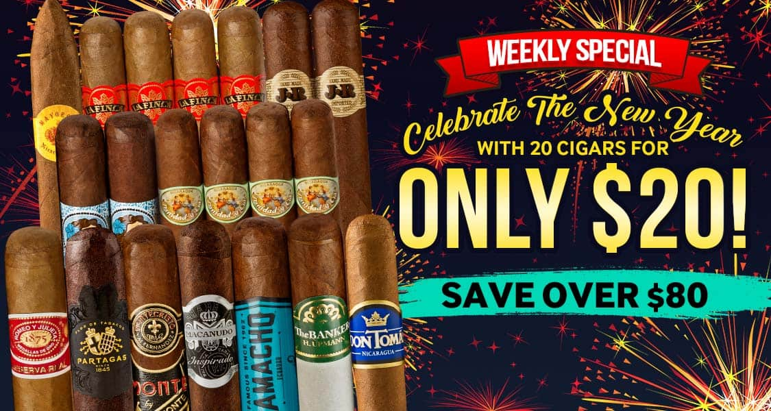 Celebrate The New Year With 20 Cigars For Only $20 + tax + $7.99 shipping
