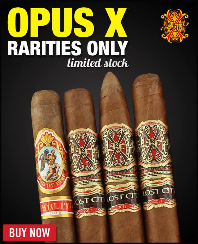 Rare Cigars Arturo Fuente (3)-Opus X Lost City + (1) God Of Fire -Rarities Only Flight (4 PACK SPECIAL) + FREE SHIPPING $98.01 with - 10% off coupon CM10