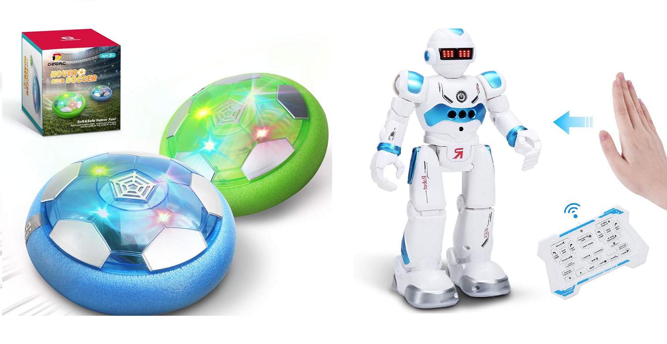 DEERC Kids 2 Hover Soccer Balls + Smart RC Robot Toy $17.60