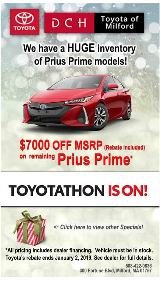 Toyota Prius Prime 28500 Up To 5000 Off Manufacturer Rebate Upto 3000 Dealer 4500 Federal Tax Credits 16000 Plus And Doc Fees