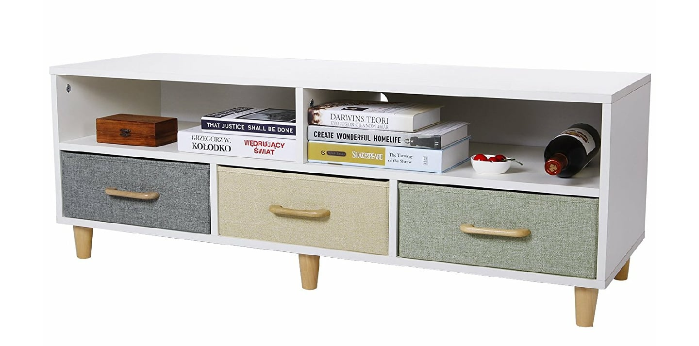Wood TV Stand Contemporary Entertainment Center Cabinet with 3 Drawers and 2 Shelves, White, $98.99