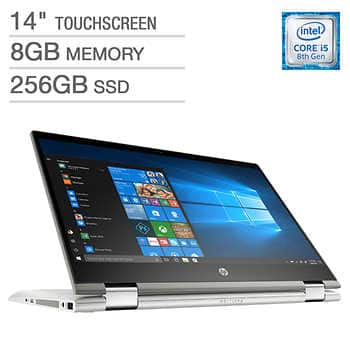HP Pavilion x360 2-in-1 Laptop - 14t Windows 10 8th Gen Intel Core i3 8GB Memory 256 GB SSD Storage $399.99