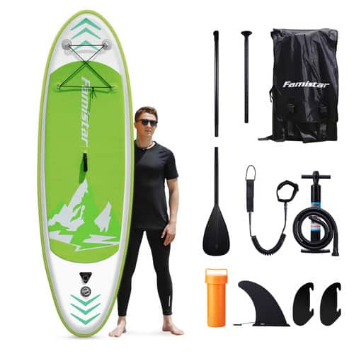 "Famistar 8'7"" Inflatable Stand Up Paddle Board SUP w/ 3 Fins, Adjustable Paddle, Pump & Carrying Backpack - $239.99 @Walmart"