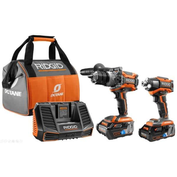 Ridgid 18-Volt OCTANE Lithium-Ion Cordless Brushless Combo Kit with Hammer Drill, Impact Driver, (2) OCTANE Batteries, Charger IN STORE ONLY YMMV $190