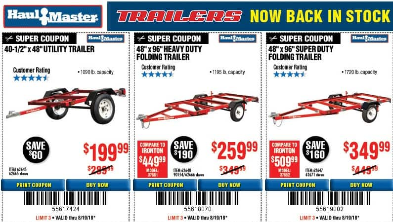 Harbor Freight Super Duty (1720lb capacity) Folding Trailer $349.99