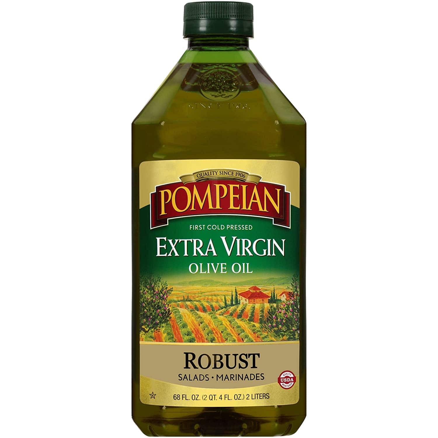 Pompeian Robust Extra Virgin Olive Oil, First Cold Pressed, Full-Bodied Flavor, Perfect for Salad Dressings and Marinades, Gluten Free, Non-Allergenic, Non-GMO, 68 FL. OZ $10.83