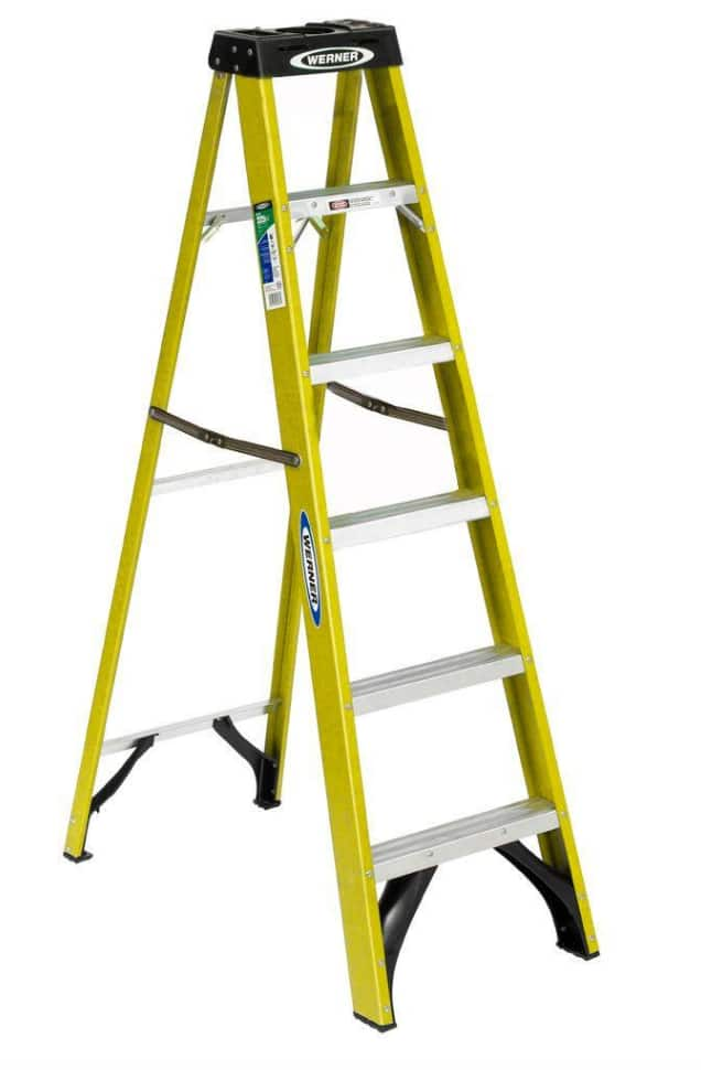 Groovy Werner 6 Fiberglass Step Ladder Type Ii Duty Rating 225Lb Pdpeps Interior Chair Design Pdpepsorg