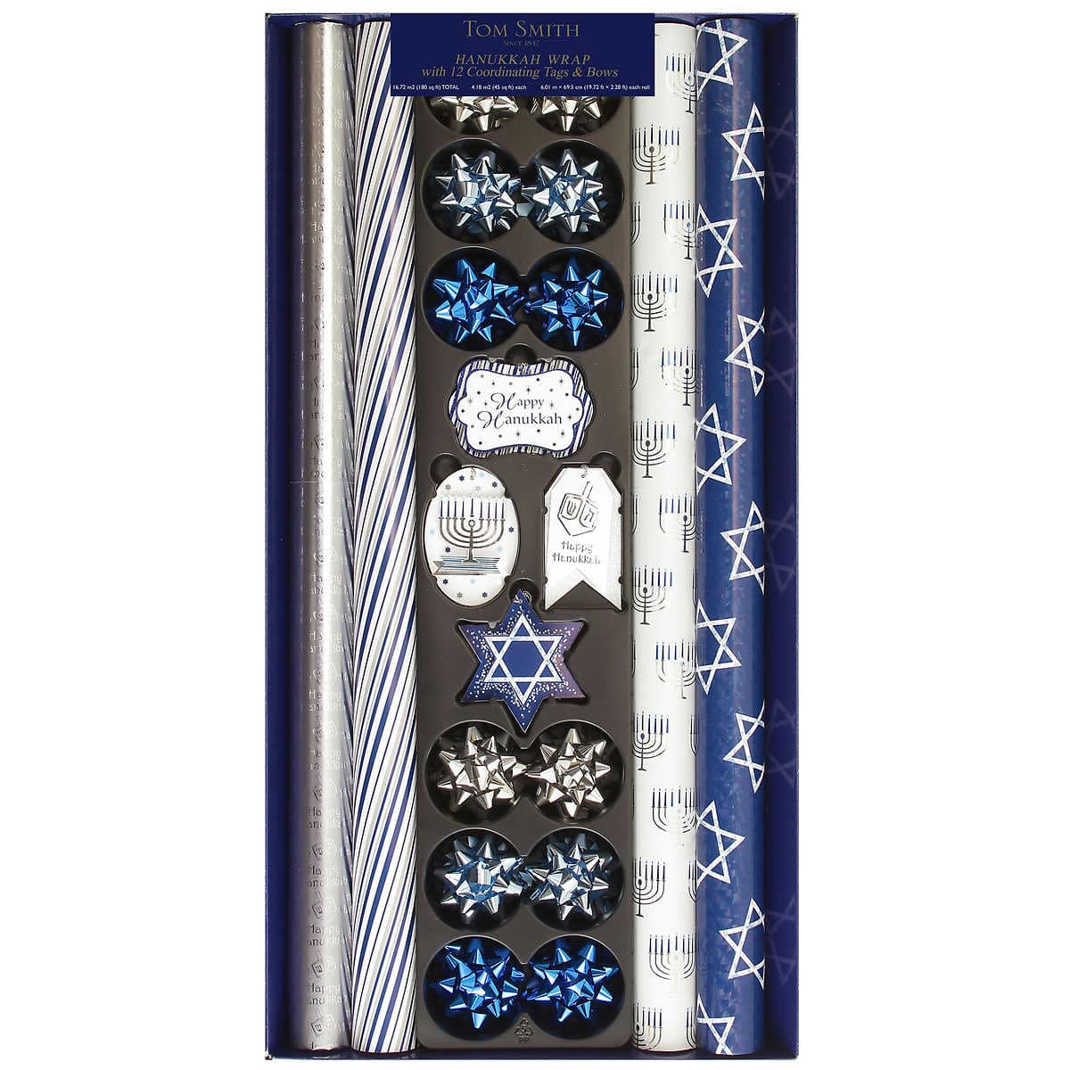 Hanukkah Wrapping Paper Ensemble Pack, 4 Rolls, 12 Foil Bows, 12 Embellished Tags $4.97