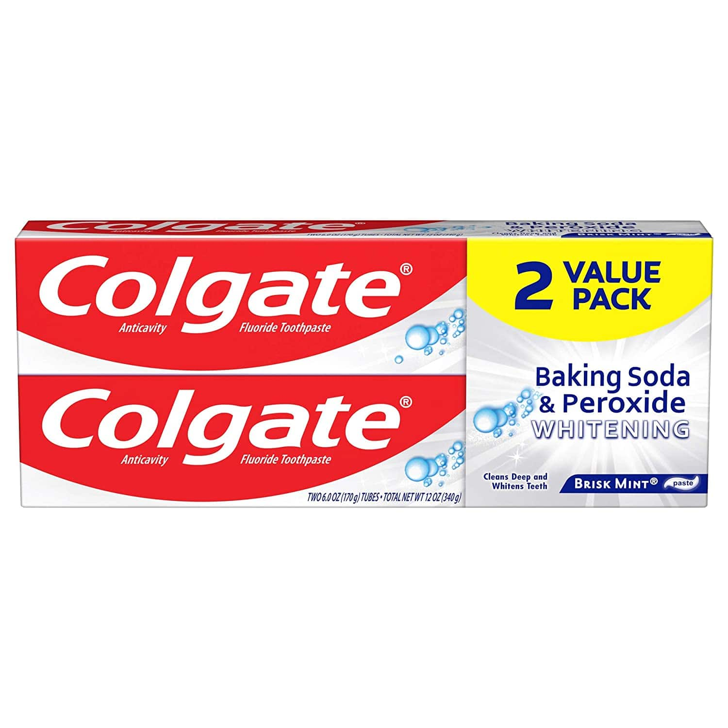 2-Pack 6-Oz Colgate Baking Soda and Peroxide Whitening Toothpaste (Brisk Mint) $1.50 ($0.75 each) + Free Shipping w/ Prime or on $25+