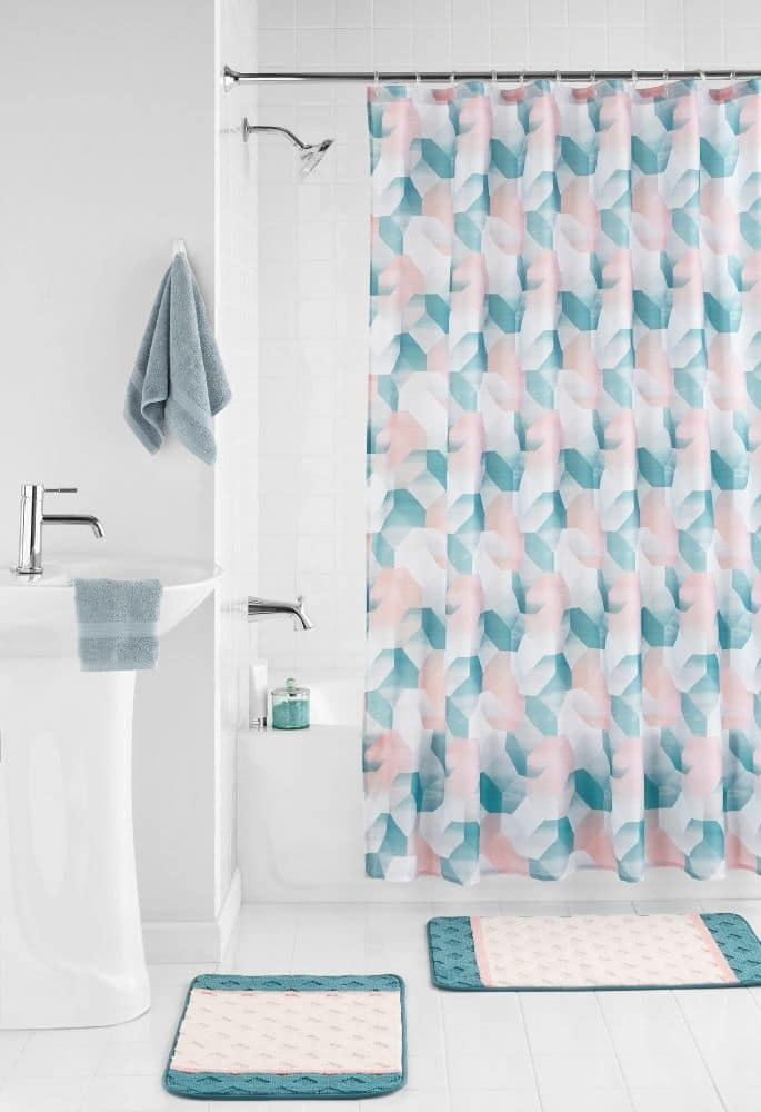 15-Piece Mainstays Geometric Shower Curtain and Bathroom Rugs Set $9 + Free Store Pickup at Walmart or FS w/ Walmart+ or on $35+