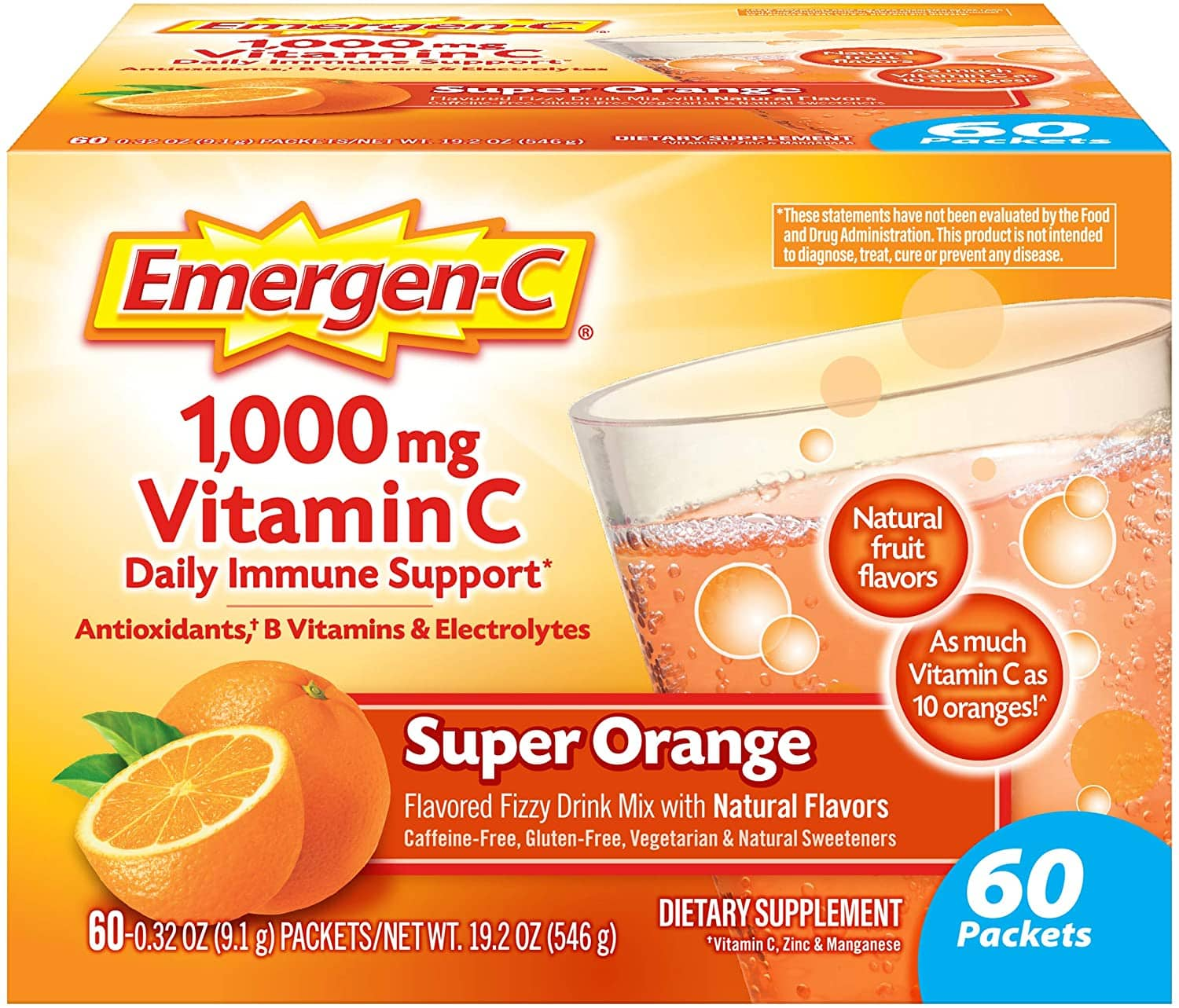60-Ct 0.32-Oz Emergen-C 1000mg Vitamin C Supplement Fizzy Drink Mix (Super Orange) $11.80 w/ S&S + Free Shipping w/ Prime or on $25+
