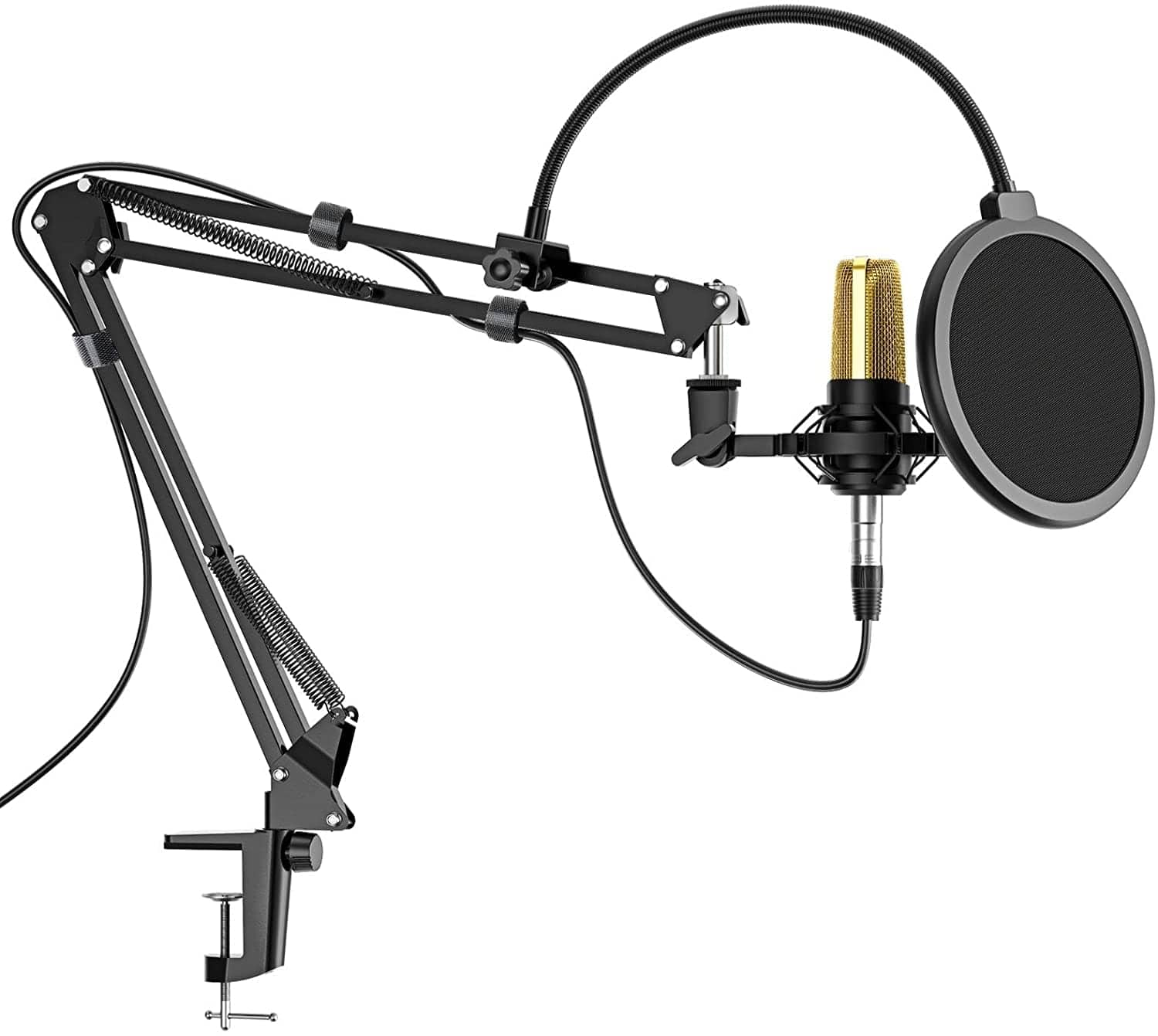 Microphone Arm Stand Suspension Scissor with Mic Shock Mount, Pop Filter $10.95 + Free Shipping w/ Prime or on $25+