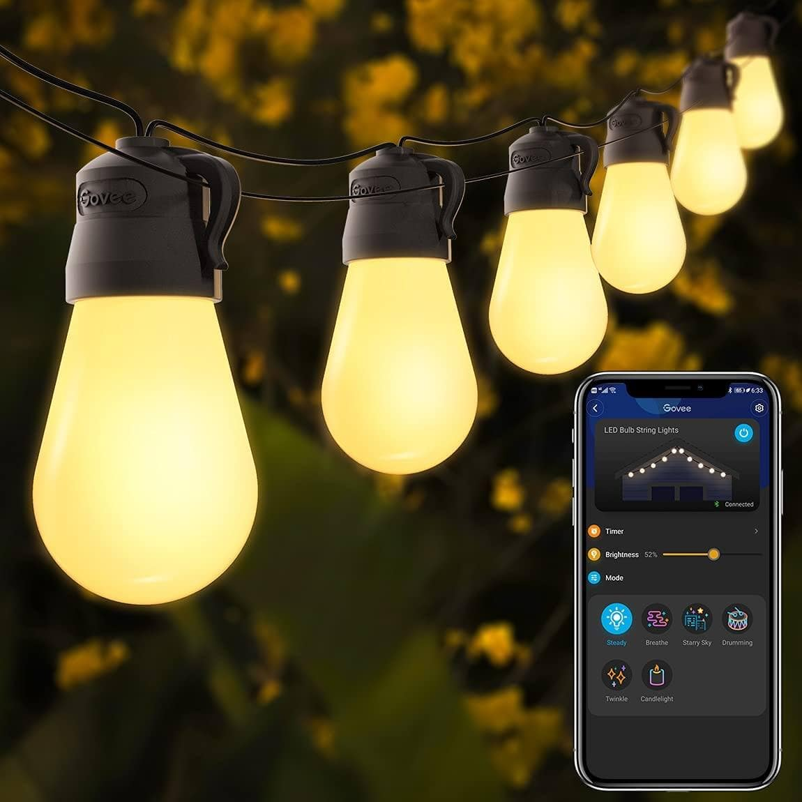Govee 48ft Patio Lights w/ Bluetooth App Control, IP65 Waterproof Shatterproof Outdoor String Lights $25.99 + Free Shipping