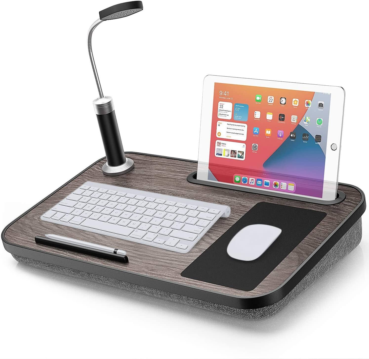 Laptop Lap Desk with Pillow Cushion & Light & Mouse Pad Fits Up to 15.6'' Laptops for $14.40 + Free Shipping w/ Prime or on $25+