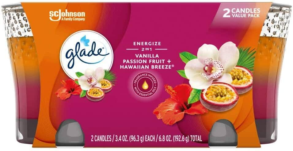 2-Count 3.4-Oz Glade Candle Jar (Vanilla Passion Fruit + Hawaiian Breeze) $3.50 w/ S&S + Free Shipping w/ Prime or on $25+