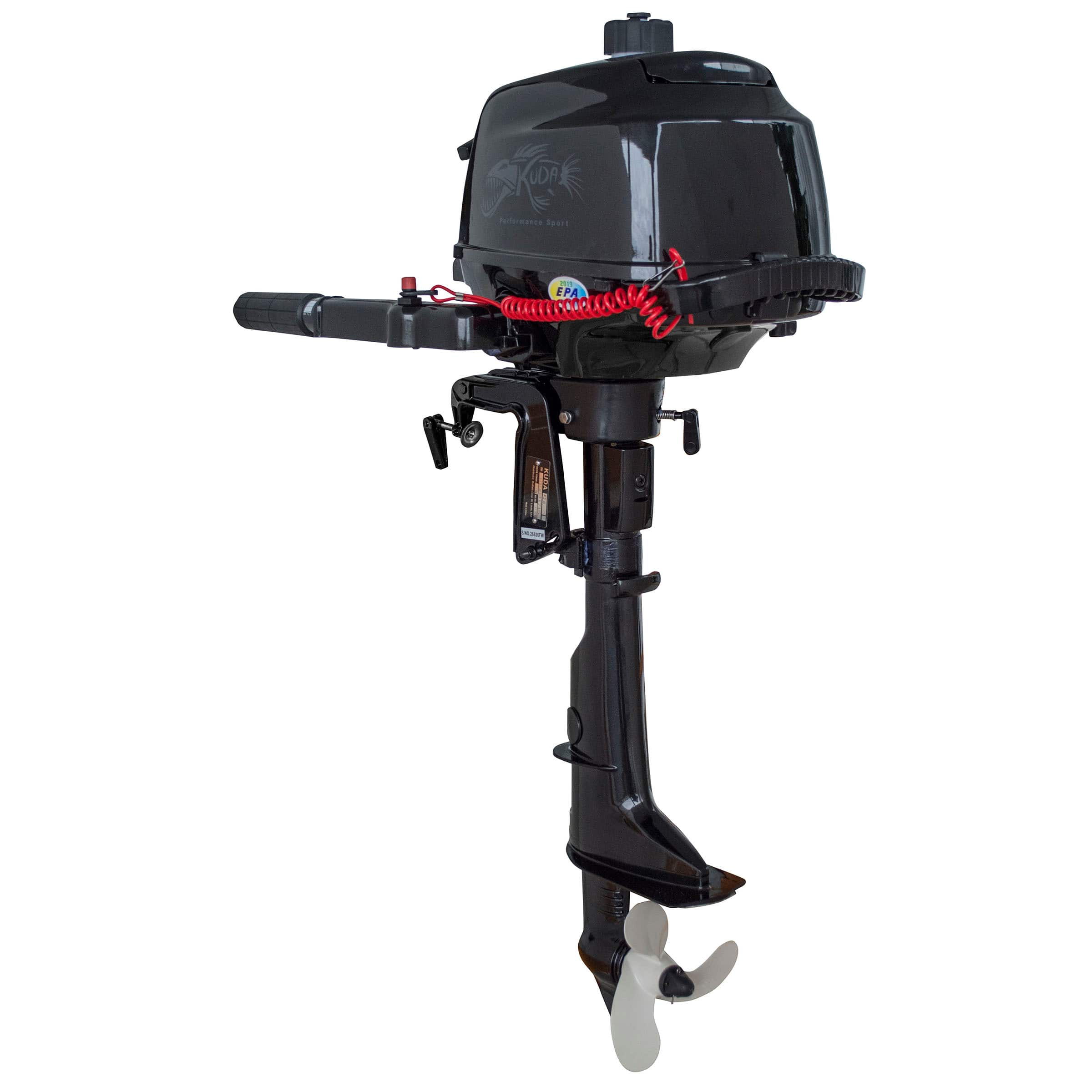 "Kuda 4 Stroke 2.6HP Outboard Boat Tiller Motor (5500 RPM, 17"" Shaft, Recoil Start) $500 + free shipping"