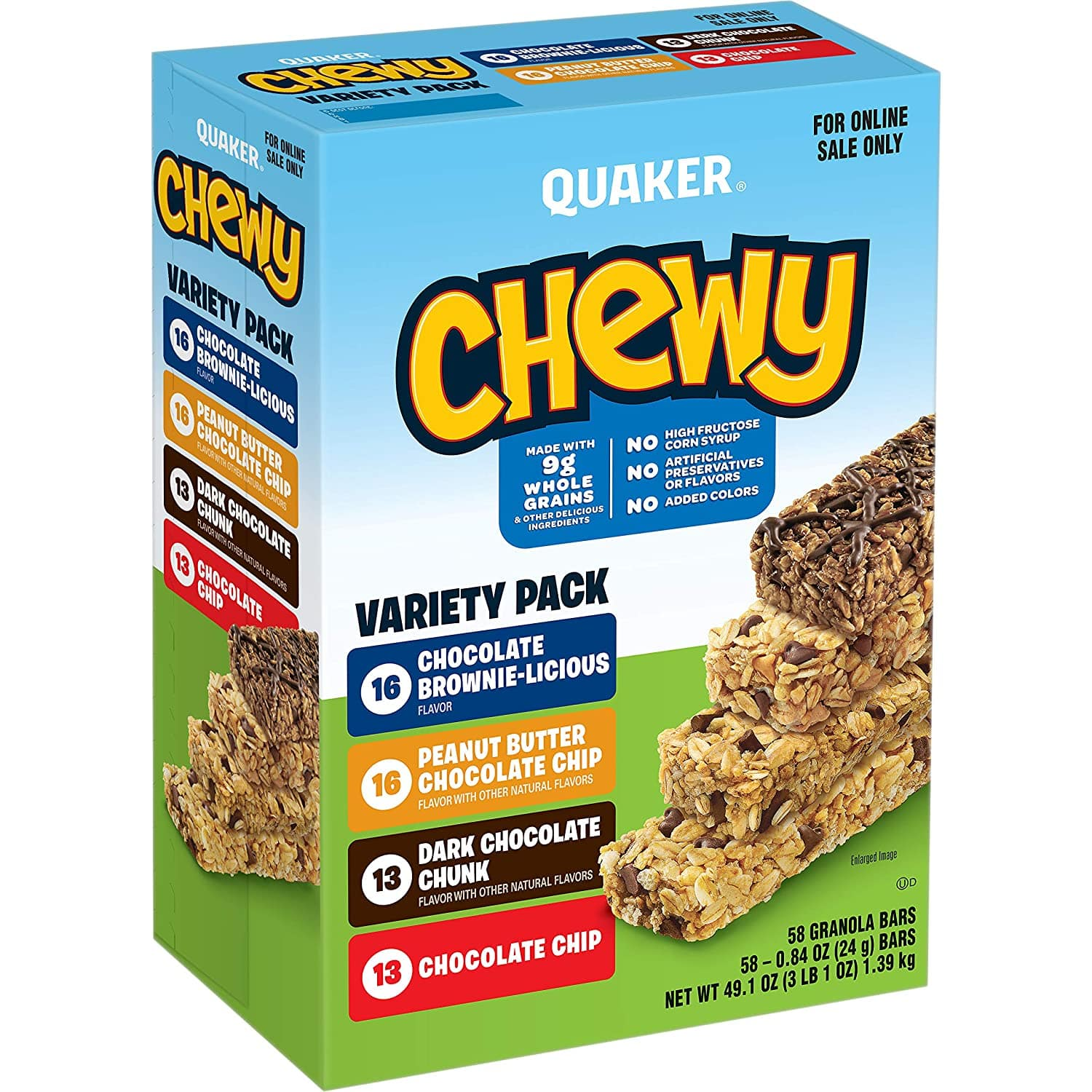 58-Ct Quaker Chewy Granola Bars (Variety Pack) $9 w/ S&S + Free Shipping w/ Prime or on $25+