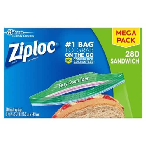 280-Count Ziploc Sandwich Bags $6.96 w/ S&S + Free Shipping w/ Prime or on $25+