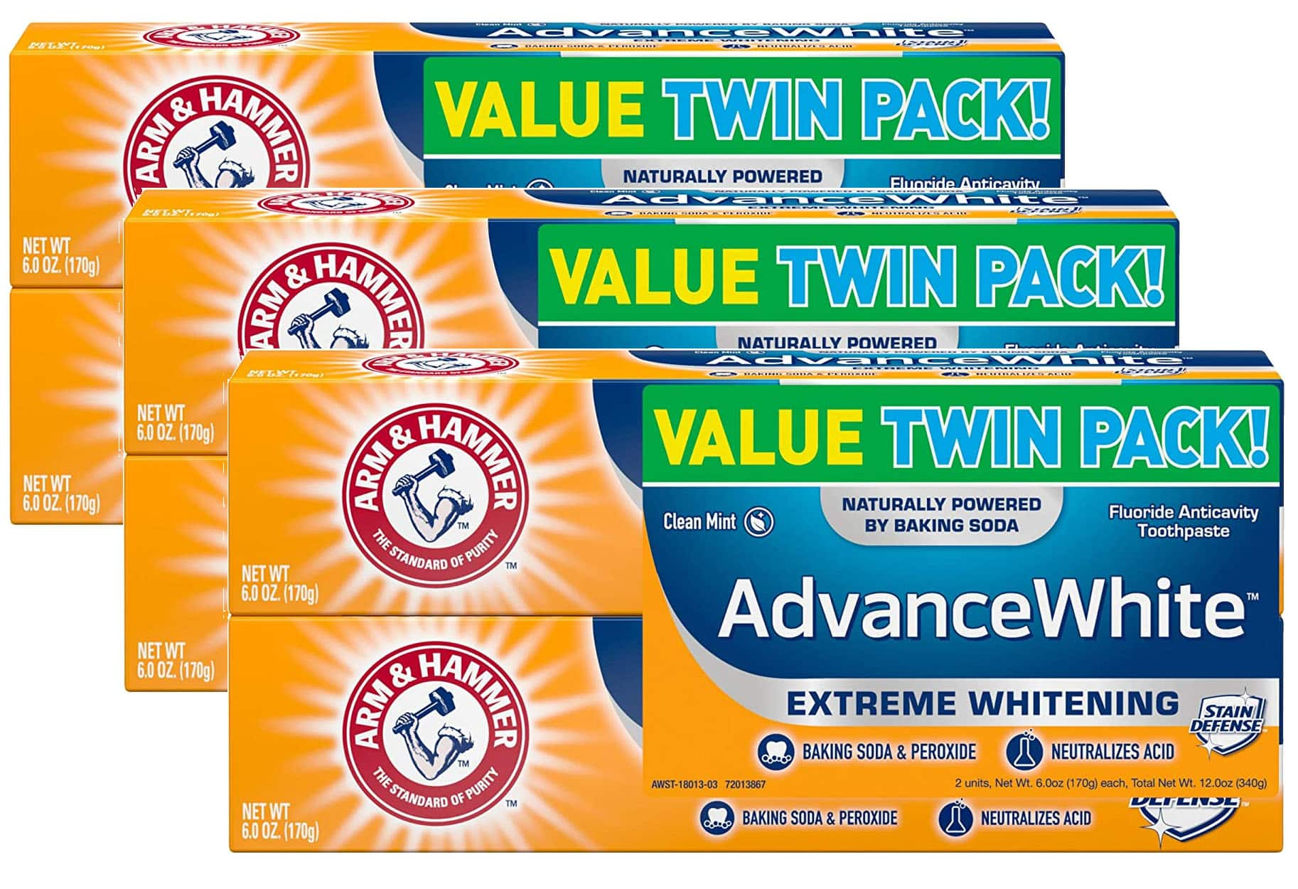 2-Pack 6-Oz Arm & Hammer Advance White Toothpaste (Fresh Mint) 3 for $10.88 ($1.81 per tube) + Free Shipping w/ Prime or on $25+
