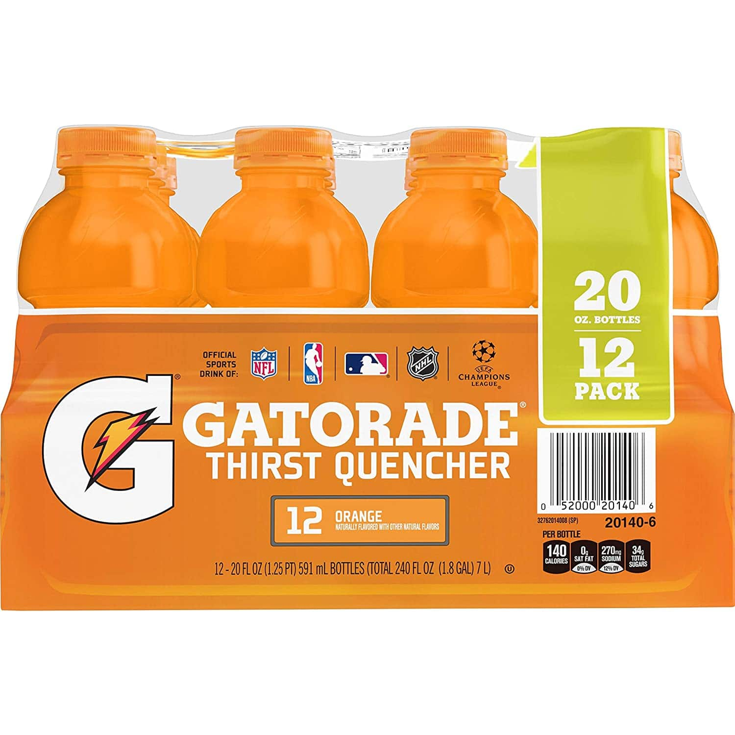 12-Pack 20-Oz Gatorade Thirst Quencher (Fruit Punch, Orange, Lemon-Lime) $7.10 w/ S&S + Free Shipping w/ Prime or on $25+
