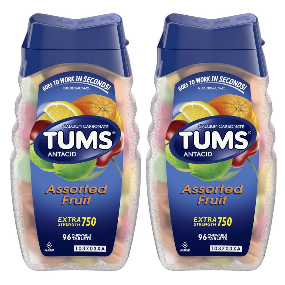 96-Count TUMS Extra Strength Antacid Chewable Tablets (Assorted Fruit) 2 for $6.75 + Free Shipping w/ Prime or on $25+
